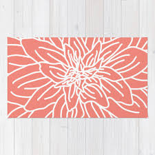 Coral Area Rug Coral Abstract Flower Area Rug Modern Flower Rug Coral And