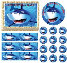 edible cake topper shark party edible cake topper image frosting sheet cake
