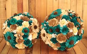 wooden flowers copper teal wedding bouquets made of wooden flowers reduce
