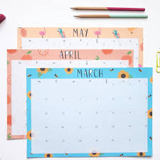 a4 illustrated desk pad calendar by not only polka dots