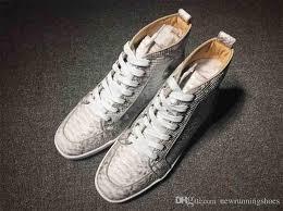 Most Comfortable Casual Sneakers Snakeskin Red Bottom Sneakers Luxury Designer High Top Skate