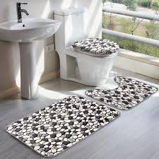 Memory Foam Toilet Rug Bathroom 3 Piece Brown Stone Memory Foam Pedestal Rug Round Toilet