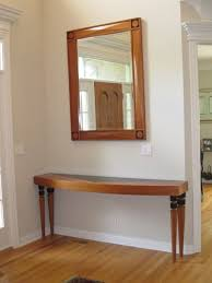 Wood Entry Table Custom Estate Cherry Wood Entry Table And Mirror Set Furniture