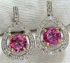 top earing 18kt 3 00ct top gem pink sapphire diamond earring cluster