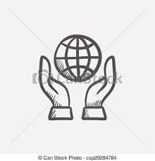 vector of two hands holding globe sketch icon for web and mobile