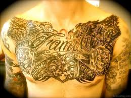 chest tattoo design 27 family wording tattoos on chest