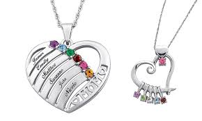 custom heart necklace custom birthstone necklace s limogès jewelry groupon