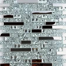 Glass And Metal Backsplash Tiles For Kitchen And Bathroom Silver - Silver backsplash