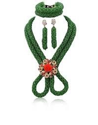 green crystal necklace set images New design 2 layers green braid african beads jewellery set gift jpg