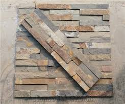 Cheap Rusty Slate Wall Stone Cladding Corner Prices Cultured - Stacked stone tile backsplash