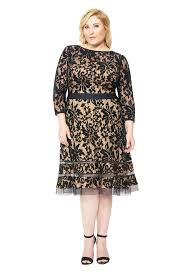 embroidered lace sleeve dress with sheer cut out detail plus