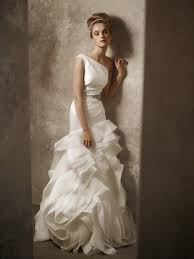 one shoulder ivory drop waist wedding dress by white by vera wang