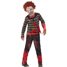 Zombie Boy Halloween Costume Kids Halloween Deluxe Zombie Clown Fancy Dress Costume 44293