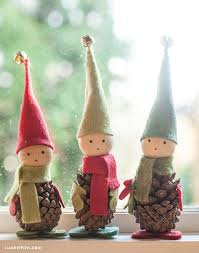 felt and pine cone elves pine cone elves and pine