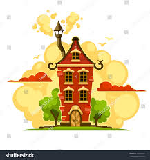 fairytale house over sunset clouds vector stock vector 346005818
