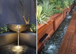 minimalistischer garten mit wasser bachlauf brunnen springbrunnen