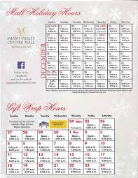 our hours for december miami valley centre mall