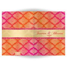 Housewarming Invitation Cards India Indian Wedding Invitation Card Orange Fuchsia Gold Damask