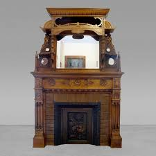 unique 1890s carved maple fireplace mantel