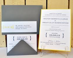 contemporary wedding invitations wendy and brian slate gray and lemon contemporary wedding