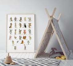 Abc Nursery Decor Alphabet Poster Nursery Decor Nursery Decor Animals