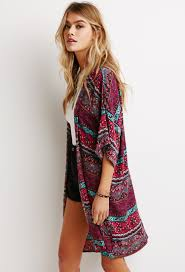 forever 21 abstract brocade crinkled kimono in purple lyst