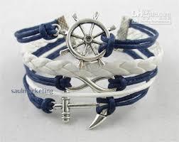 rope bracelet with anchor images Blue rudder anchor leather rope bracelet nautical vintage silver jpg