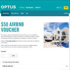 50 off 100 spend airbnb optus perks optus customers