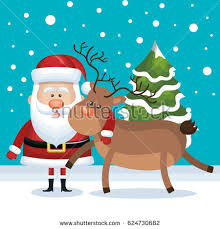 santa claus driving sledge reindeer christmas stock vector