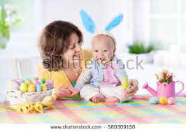 Decorating Easter Eggs With Toddlers by Mother Child Painting Colorful Eggs Mom Stock Foto 358101737