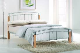 4ft small double silver metal and wood bed frame