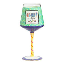 60th birthday painted wine glass wine glasses