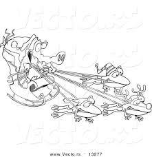 vector cartoon crocodile santa frog reindeer coloring