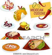 cuisine mexicaine clipart cuisine mexicaine traditionnel épicé plats icône