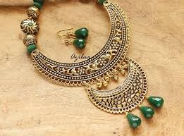 jewelry necklace images Green gemstone ethnic antique gold tone long necklace set online jpg