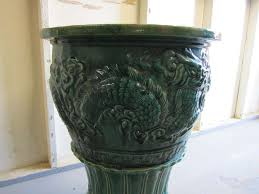 amazing and large chinese green glazed terra cotta urn and