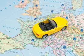 The Map Of Europe by Yellow Car On The Map Of Europe Closeup Stock Photo Picture And