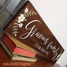 Wood Signs Home Decor Last Name Family Sign Painted Vintage