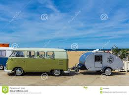 volkswagen camper trailer vw kombi camper wagen and teardrop trailer editorial photography