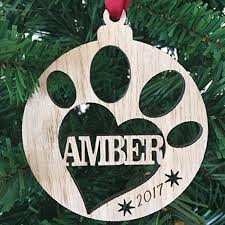 personalised wooden pet bauble christmas tree decoration paw