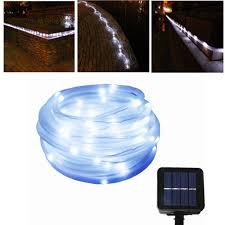solar powered halloween decorations amazon com julyfire white 50 led 16 5 foot solar powered
