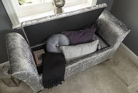 verona crushed velvet window seat ottoman storage box footstool