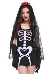 skeleton halloween costumes for adults skeleton bodycon hallowmas cosplay costume in black one size fit