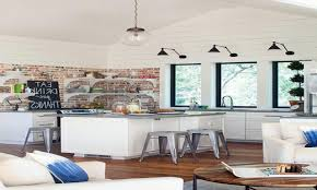 Kitchen Pass Through Designs by Kitchens With Brick Accent Walls High Elegant Wood Bookcase