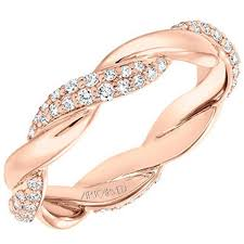 gold pave rings images Artcarved rose gold pave diamond twist wedding ring jpg