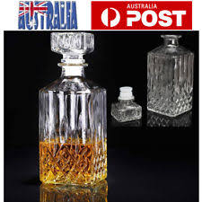 vintage glass table ls cut glass crystal square whisky decanter retro carafe vintage small