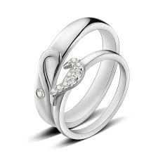 Name Rings Silver Heart Engravable Wedding Rings Silver Cz Diamond Accent Yoyoon