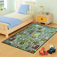 medium childrens grey village roads play mat size 100cm x 133cm