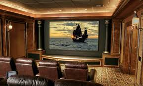 Home Movie Theater Wall Decor Luxury Movie Theater For Home With Red Silk Seating Ideas