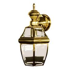 Outdoor Brass Light Fixtures Shop Secure Home Hanging Carriage 14 5 In H Polished Brass Motion